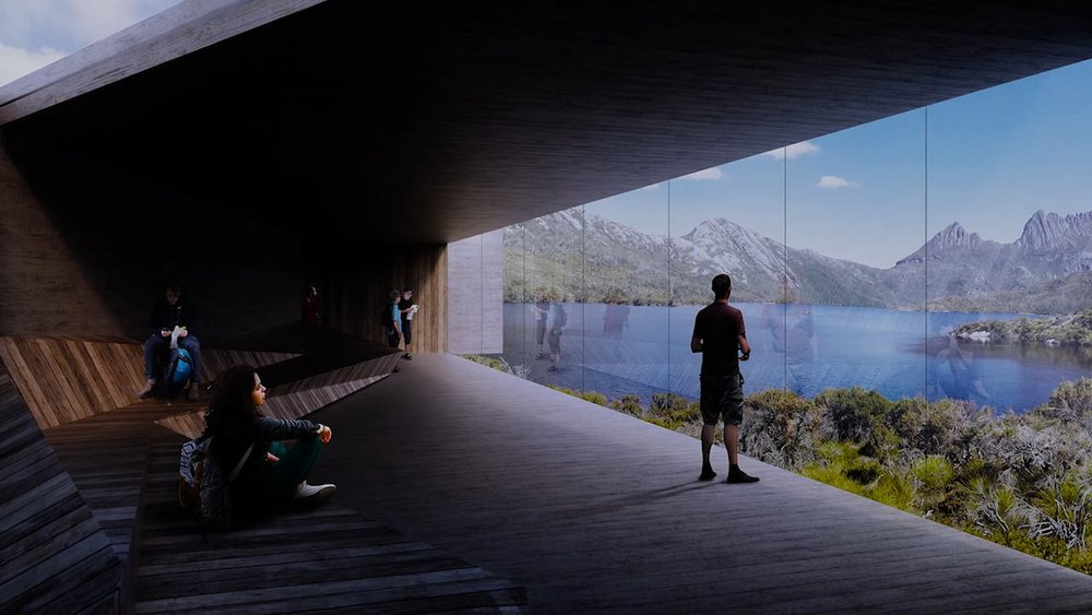 The new viewing shelter overlooking Dove Lake has been designed to be sensitive to the environment.