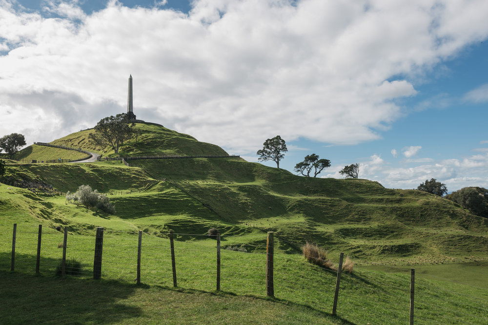 View of Maungakiekie/One Tree Hill, showing historic pā terraces. Photo credit: Tūpuna Maunga Authority)