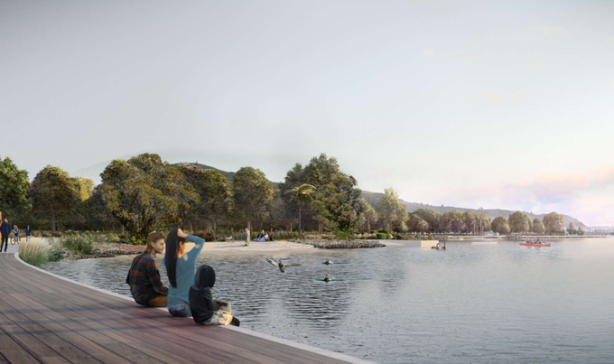 The design of the boardwalk aims to let people engage more closely with the water.