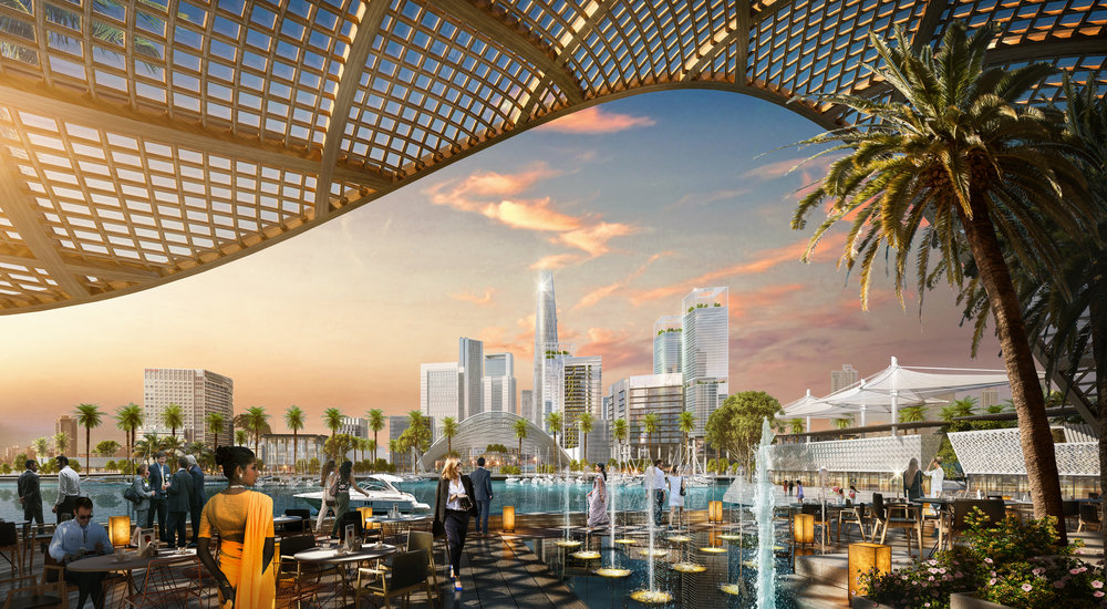 The finance and marina district is set for completion in 2041. Image credit - SOM.