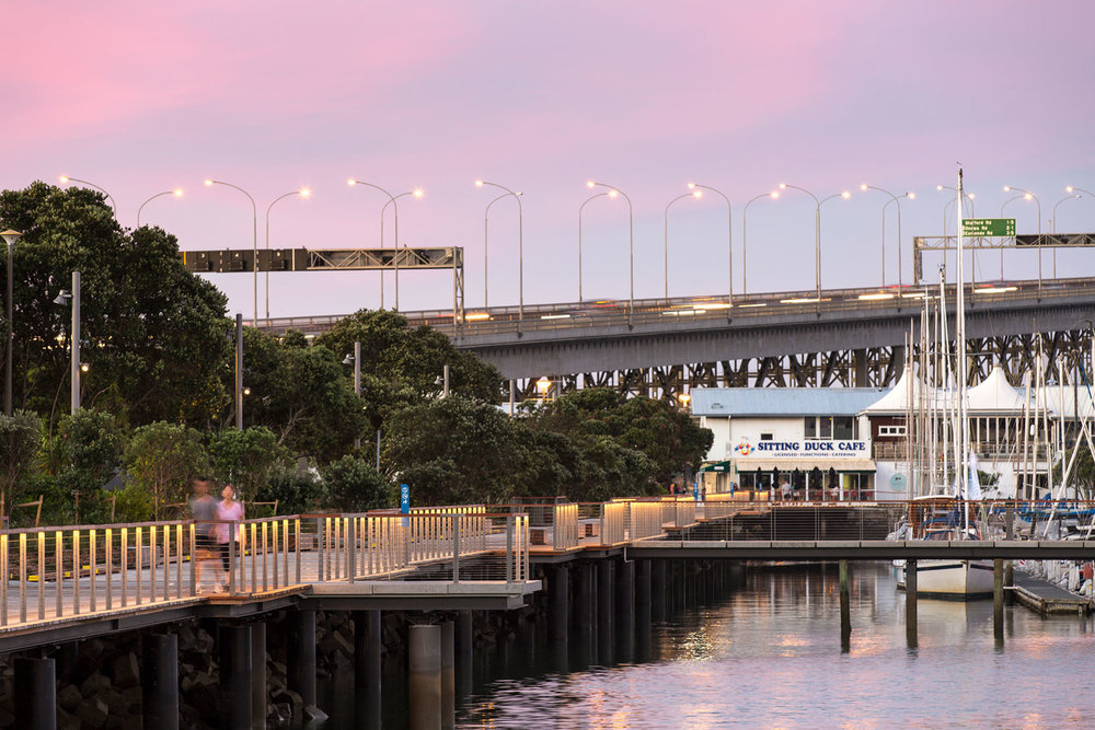 LandLAB's Westhaven Promenade provides a shared path along the foreshore.