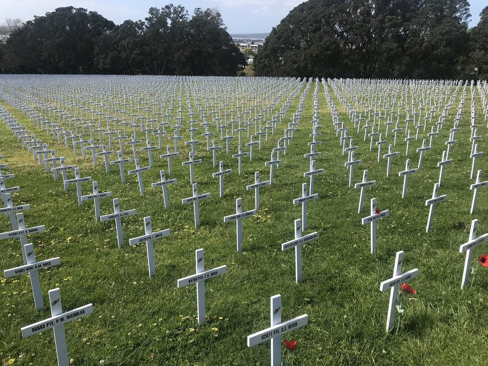 There are 18.277 crosses in the Auckland Domain as part of the Fields of Remembrance commemoration initiative.