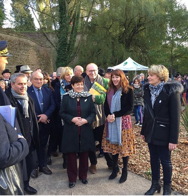 Last weekend's opening ceremony with the NZ Governor-General Dame Patsy Reddy (left) Xanthe White (centre) and the mayor of Les Quesnoy, Marie-Sophie Lesne.