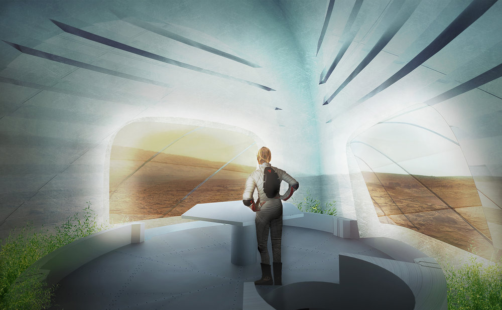 The translucent walls of the Mars Ice House let light in for the inhabitants.