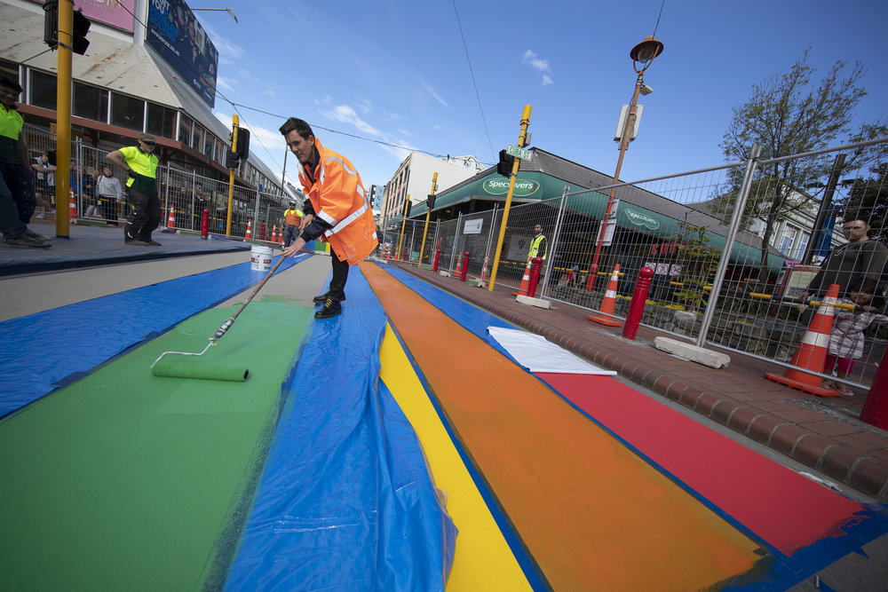 The rainbow crossing is not a zebra crossing but an art installation.