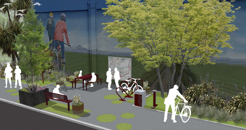 A concept drawing for Pause Park - which sets out to cater to walkers and cyclists making their way between wineries.