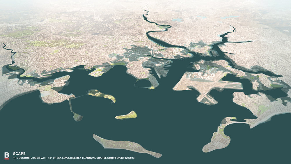 Worst-case scenario diagrams anticipate a sea-level rise of one metre, and show much of Boston underwater by 2070.