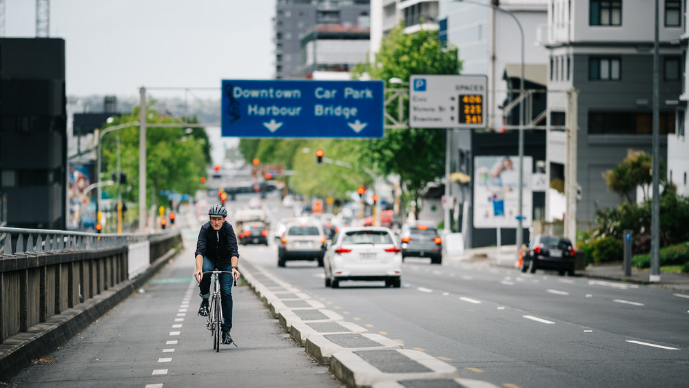 Isthmus' CEO Ralph Johns uses one of central Auckland's cycle paths.