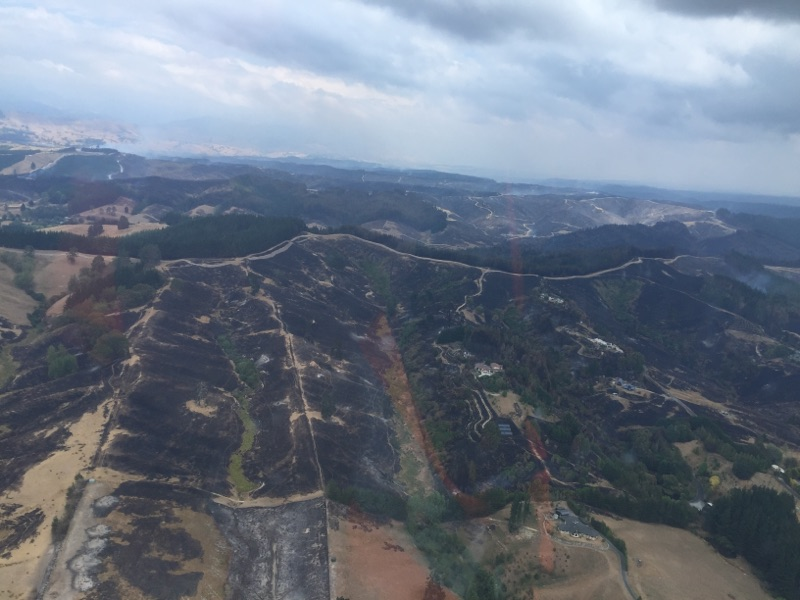 An aerial photo of the damage to Redwood Valley in Nelson.