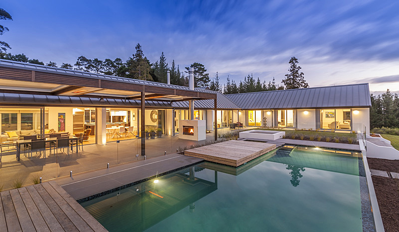 Scale and proportion are important for pool design. This pool sits easily into the house enclosure, with almost seamless connection