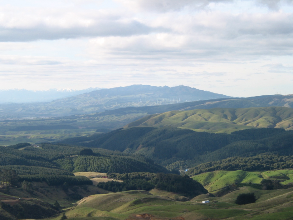 The natural backdrop and playground for the people of Palmerston North City. The Northern Tararua Ranges with the Ruahine Ranges in the background.