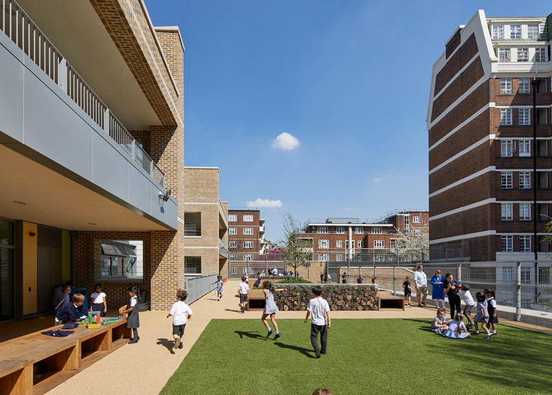 The London school has roof terraces as well as a semi-enclosed space for the Autism Suite. Photo credit:  Paul Riddle.
