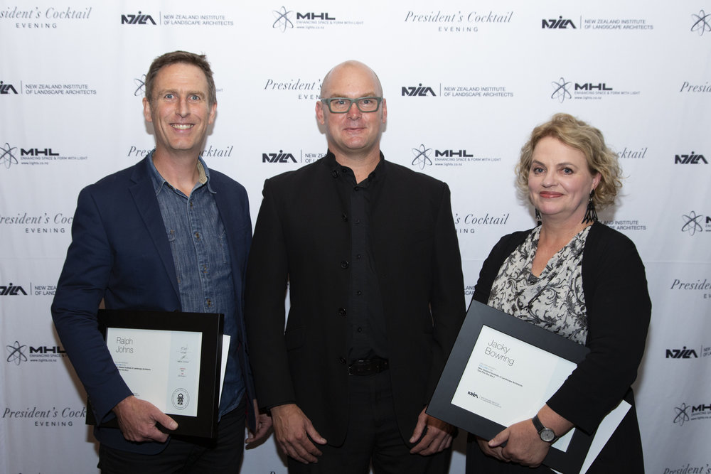 NZILA President Brad Coombs (centre) with new fellows Ralph Johns and Jacky Bowring at the cocktail event in Auckland last night.