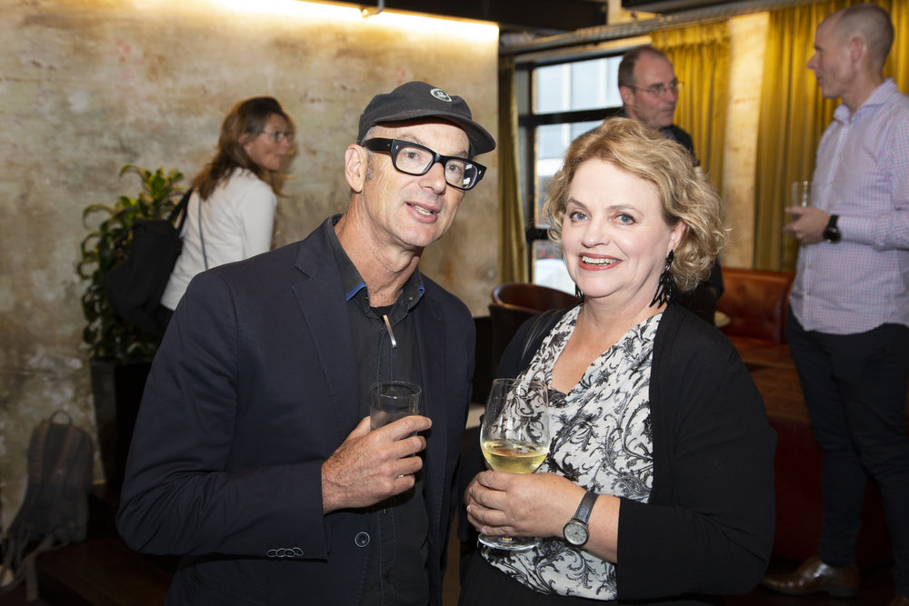 New NZILA fellow Jacky Bowring (right) with David Irwin from Isthmus at the NZILA President's cocktail evening.