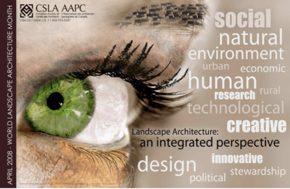 The official poster for the inaugural World Landscape Architecture Month in 2008.