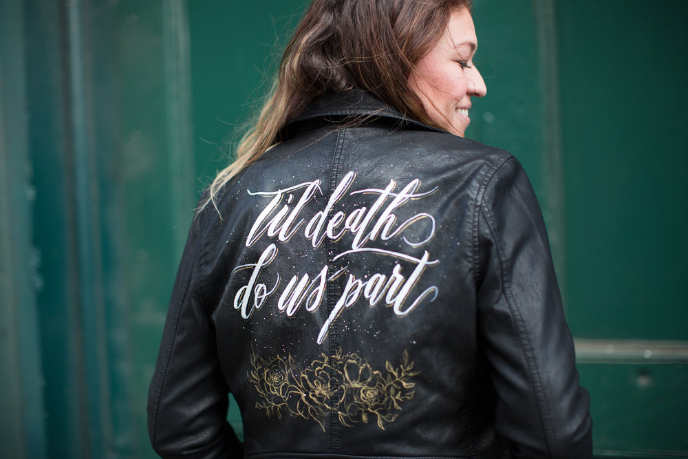Painted leather jacket by  ink & sable