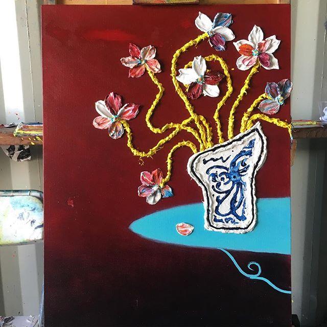 "Porcelain Vase with Flowers - Oil on canvas 24""x 30"" ( ) ( ) #art #sfart #sfartist #artwork #artist #painting #paint #oilpainting #gallerypainting #laart #nycart #brooklynart #londonart #losangelesart #painter #artcollector #artcurator #contemporaryart #modernart #abstractart #fineart #arte #paintingoftheday #abstractexpressionism #process #artstudio #artmarketsf #hunterspoint #sanfrancisco"