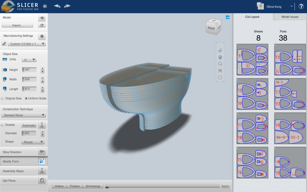 Model in Slicer. Chosen slicing method was stacked.