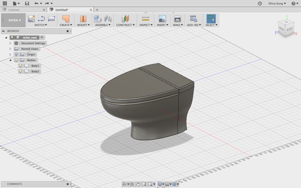 Original 3D view of toilet.
