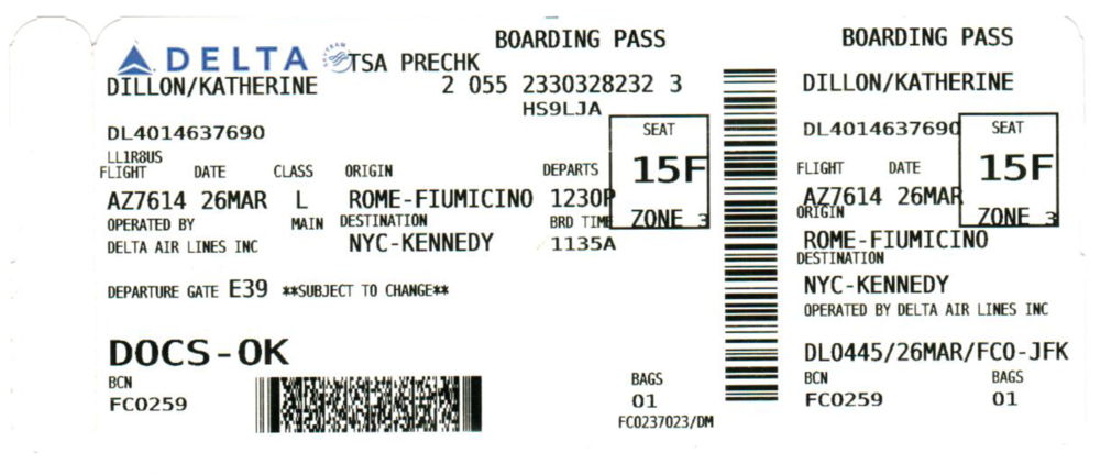 Existing plane tickets