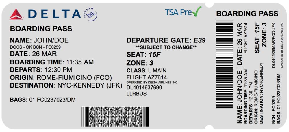 Redesigned plane ticket