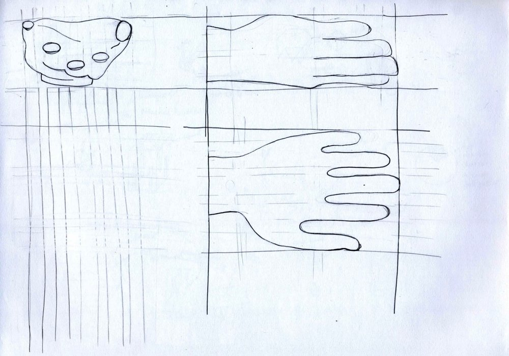 3 orthographic sketches of the design