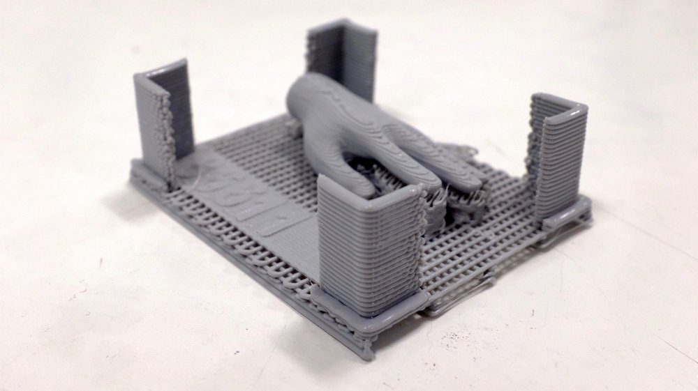 After printing, with support structure still attached
