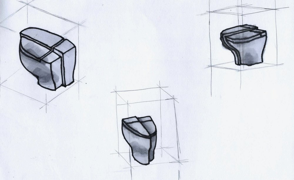 Drawn renderings, three different perspective views.