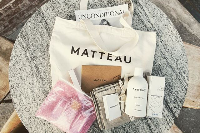 Ms BROWN Delicate Wash in good company in the gift bags at last week's Matteau Resort '19 dinner in New York | @matteau.swim @unconditionalmagazine @glossier @inbedstore @maisonbalzac