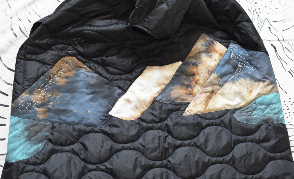 """Infinite Landscape Jacket by VVORK VVORK VVORK from """"Wearable Landscape"""" collection. Wear a mountain, Carry a sun. designed and slow-made by Zeynab Izadyar in Brooklyn, New York"""