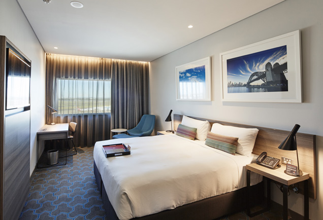 Rydges Sydney Airport - Rydges Sydney Airport 1 nights accommodation, return hotel transfers and return airfares.Our Sydney airport accommodation provides convenience,comfort in casual environment. Rydges Sydney Airport takeshospitality to new heights. Our Sydney airport accommodationis located at the international terminal and just 181 steps to thecheck in counters. Located less than 30 minutes to the SydneyCBD and providing convenience to the Domestic Terminals withfree transfers to and from the Hotel.Package includes return flights with FlyPelican and 1 nightsaccomodation at the Premiere Rydges Sydney Airport in a DoubleRoom. The 318 well-appointed rooms within the accommodationfeature Runway views of the airport, the coveted Rydges DreamBed, cable channels and FREE WI-FI to keep guests entertainedand connected. Touch&Go Café keeps visitors with early flightsmoving quickly by offering fresh pastries and hot cups of java ina hurry.ex Newcastle $215 per person twin share (adult)ex Mudgee $215 per person twin share (adult)★★★★☆