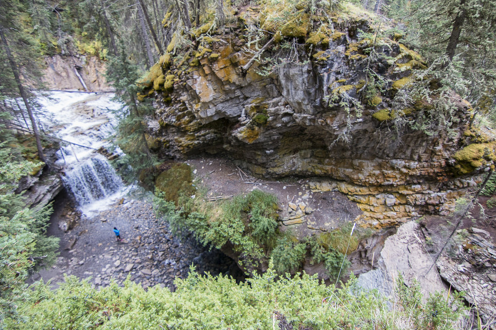 View of the waterfall and rock formation from the overlook