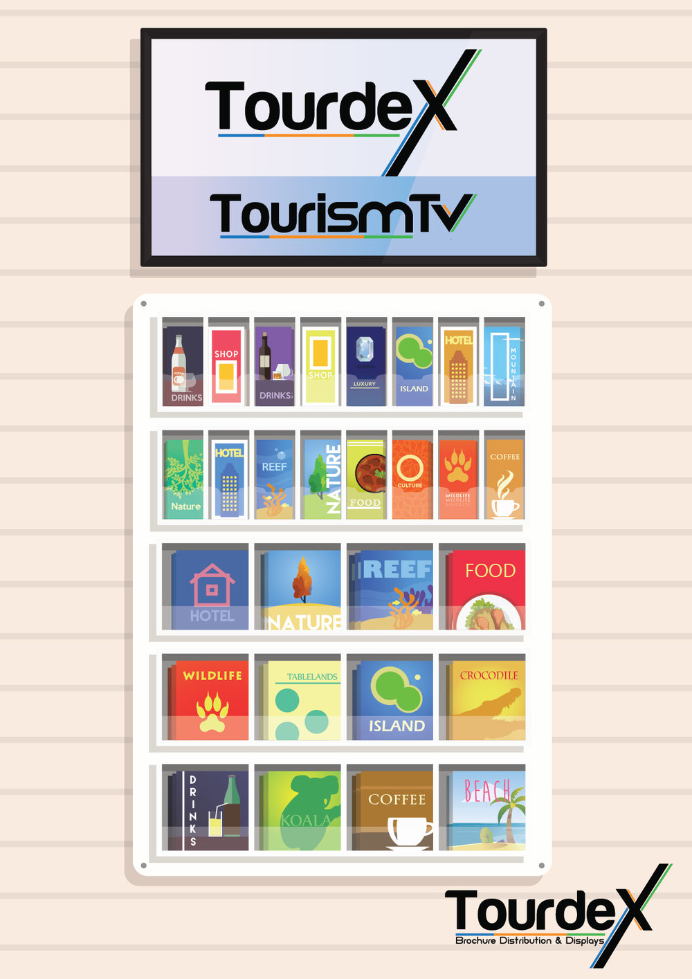 Custom TOURDEX Wall display with the NEW Tourdex Tourism TV - LIVE display