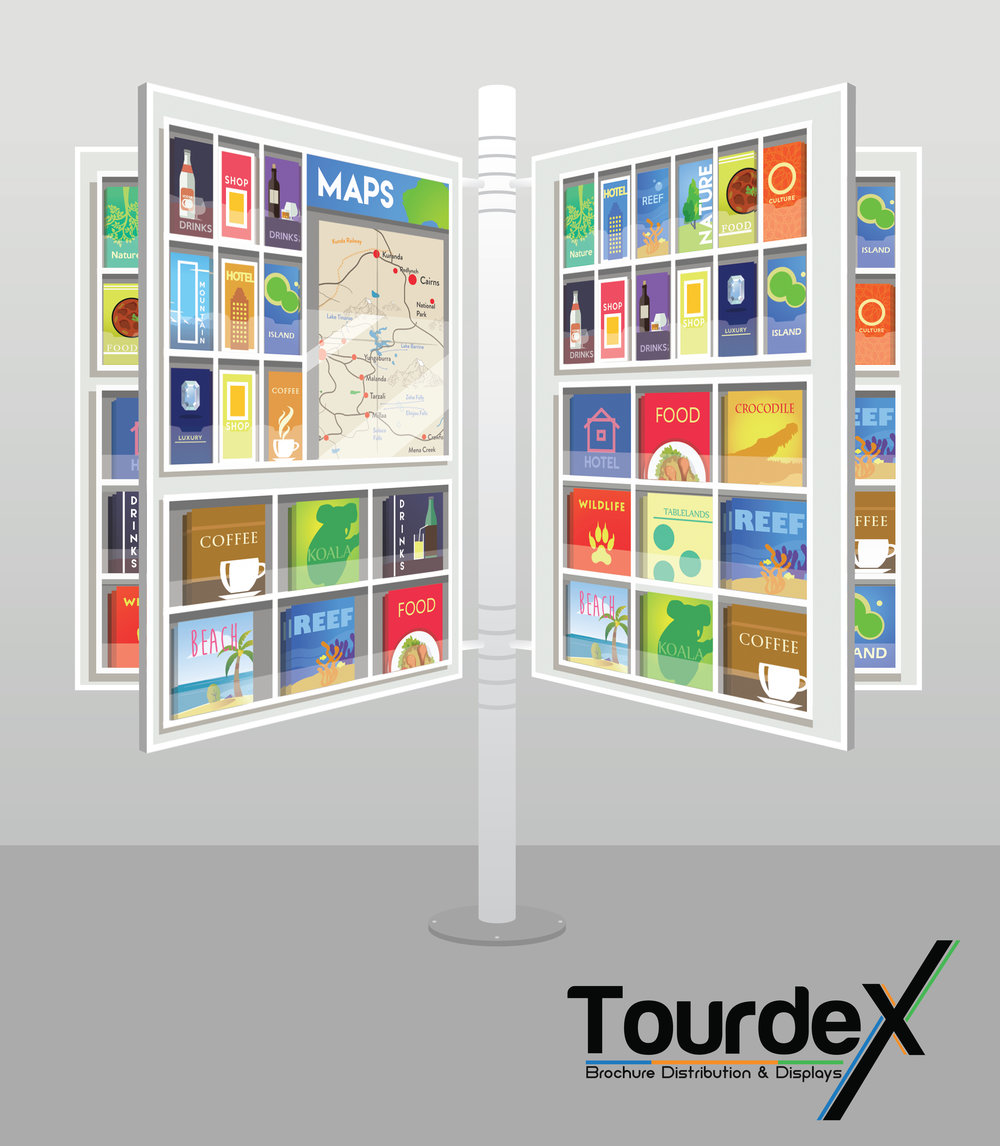 TOURDEX - ORIGINAL - Large ( 5 page ) and Medium ( 4 page ) Swivel display. Floor mount or on Wheels