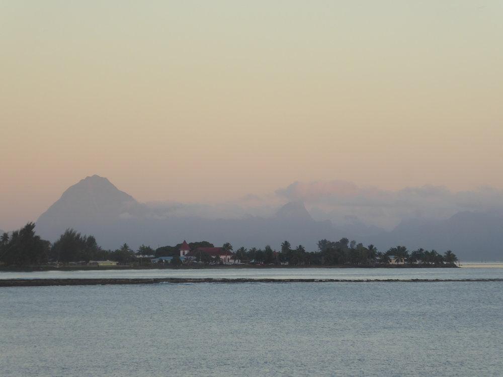 View from Tahiti across to Moorea