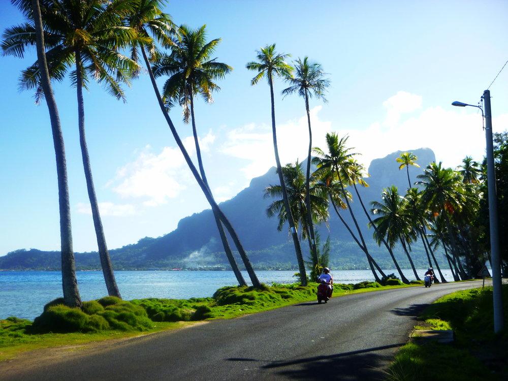 Beautiful vistas and coconut-lined roads make even walking in Bora Bora a pleasure