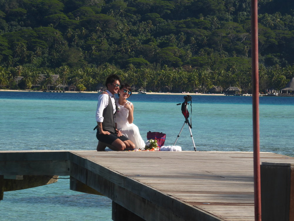 Get used to seeing this - Bora Bora is a very popular place with newlyweds