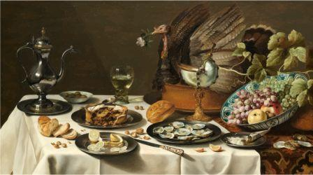 Still Life with a Turkey Pie, by GDJ, openclipart.org. Original art by Pieter Claesz