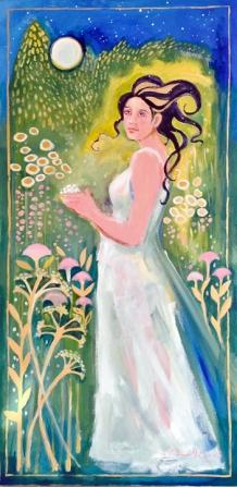 Colorful painting Titania in a moonlit garden, by MC BennettDrake