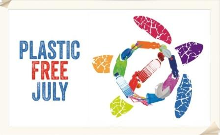 Colorful turtle with outline of body made of plastic bottles, courtesy of Plastic Free July