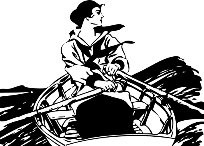 Black and white cropped vintage drawing of woman in rowboat in ocean surf rowing. Is she surfing the news-links? By FunDraw_dot_com, openclipart.org.