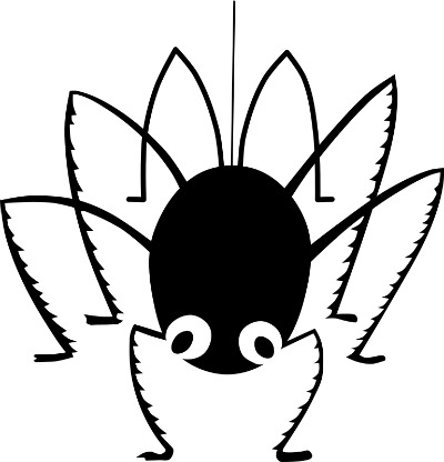 "Black and white drawing of ""Miss Muffet's Spider"", by Serious Tux, openclipart.org."