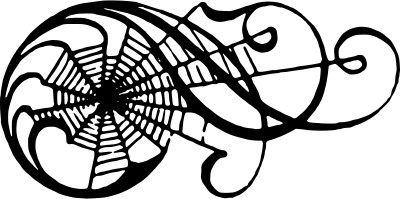 Black and white drawing of spider web scroll design, Spiderweb scroll, by liftarn, openclipart.org