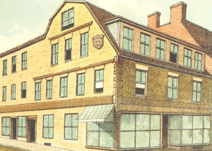 "Color drawing of old library in New England, ""Old Corner Bookstore"" by Firkin, openclipart.org."