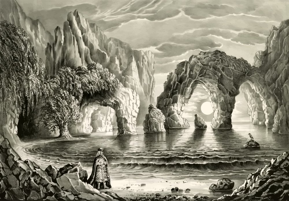 The Magic Grottoes 1870 from a public domain image, by GDJ, openclipart.org