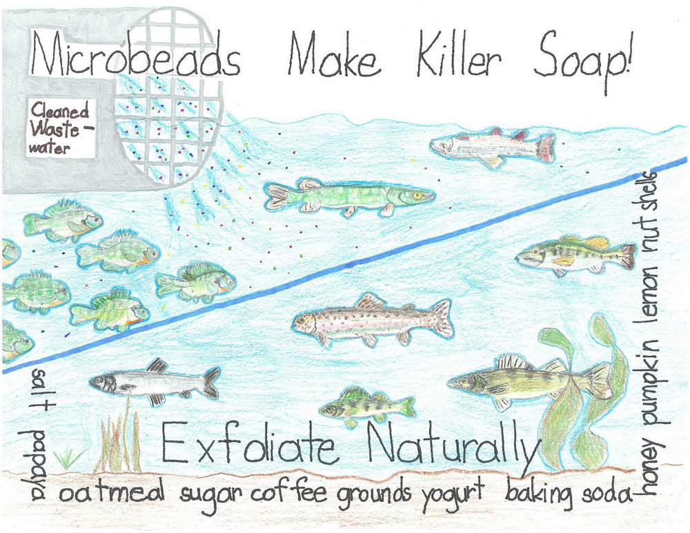 A poster about microbeads, Johanna B, Grade 1, Minnesota Art. By NOAA Marine Debris Program (Johanna_B) [CC BY 2.0 (http://creativecommons.org/licenses/by/2.0) or Public domain], via Wikimedia Commons