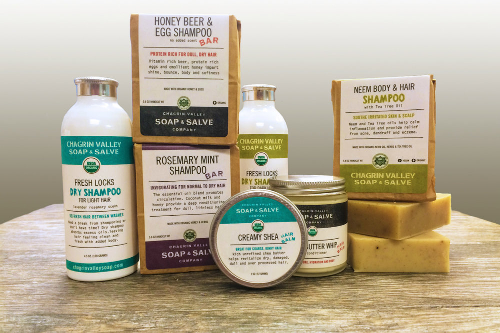 Shampoo Bars and Other Hair Care Products, image courtesy of Chagrin Valley Soap and Salve
