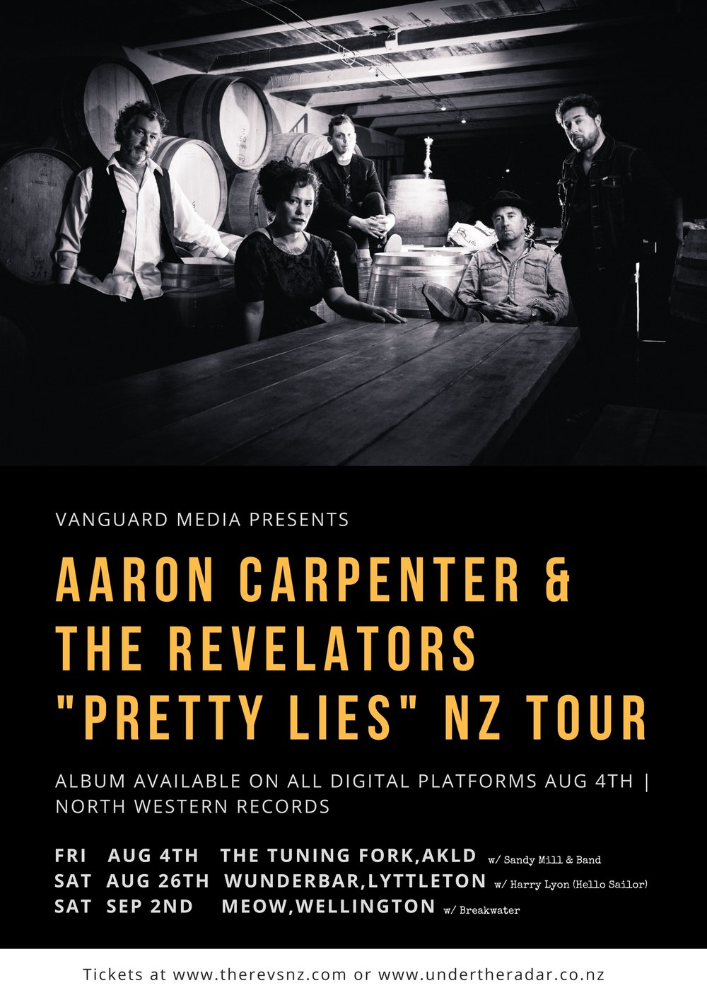 - Aaron Carpenter & The Revelators delve into their new-found swamp sound with their grinding and gritty debut album, 'Pretty Lies'. Recorded in a barn on Waiheke Island with producer Nick Abbot (The Subways, Robert Plant, The Datsuns), the tracks conjurer up a raw rock incarnation of their deep-seated country and blues sound. Since their formation, Aaron Carpenter & The Revelators have become an integral part of New Zealand's steadily growing Americana scene and has seen the band perform at Spark Arena's Southern Fork Americana Festival alongside names such as Robert Ellis, Hayes Carll and Blind Boy Paxton.  The nationwide tour see The Revelators in Auckland, Wellington & Lyttleton on this jaunt.