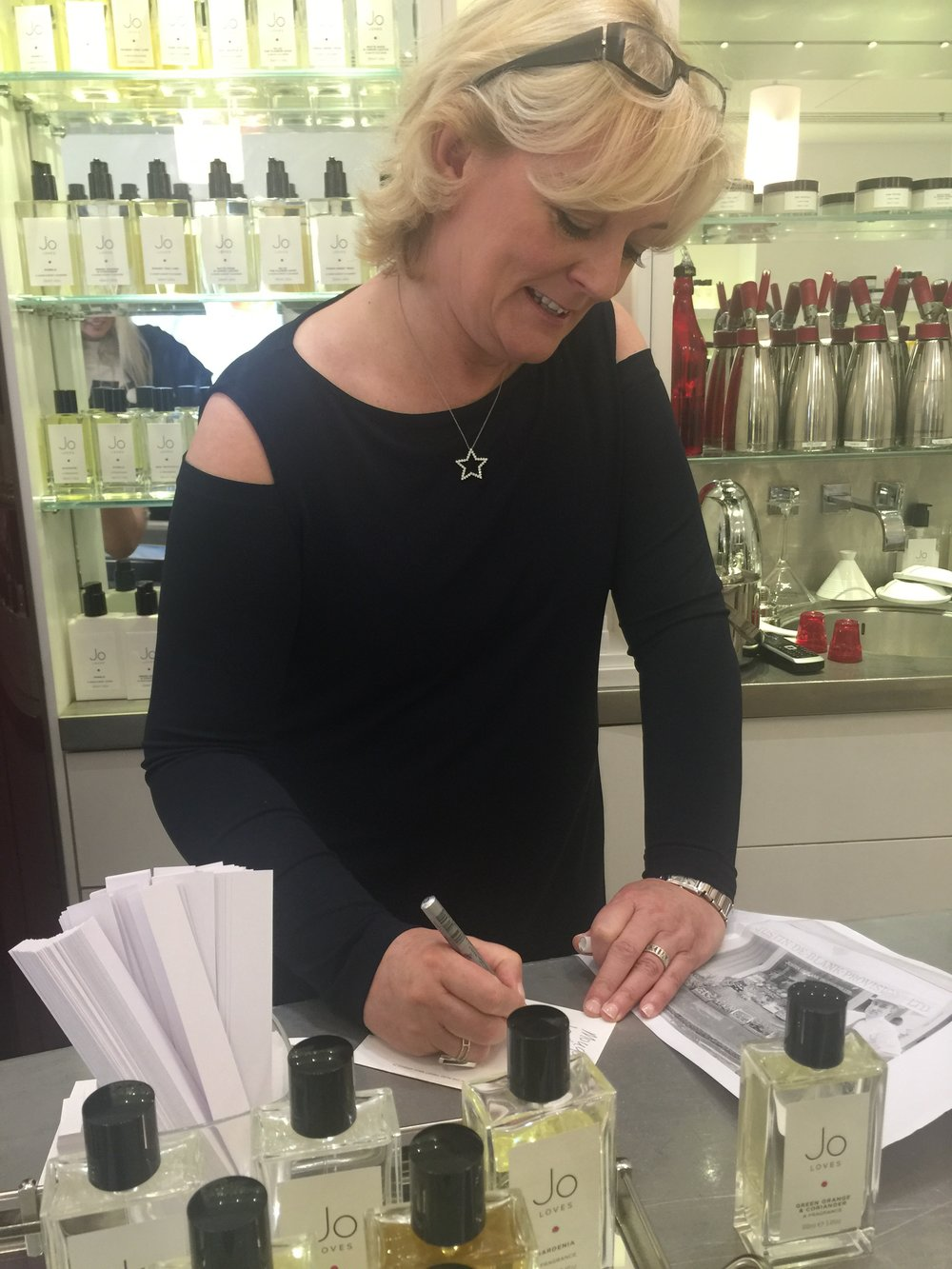 Jo Malone in her Jo Loves store London