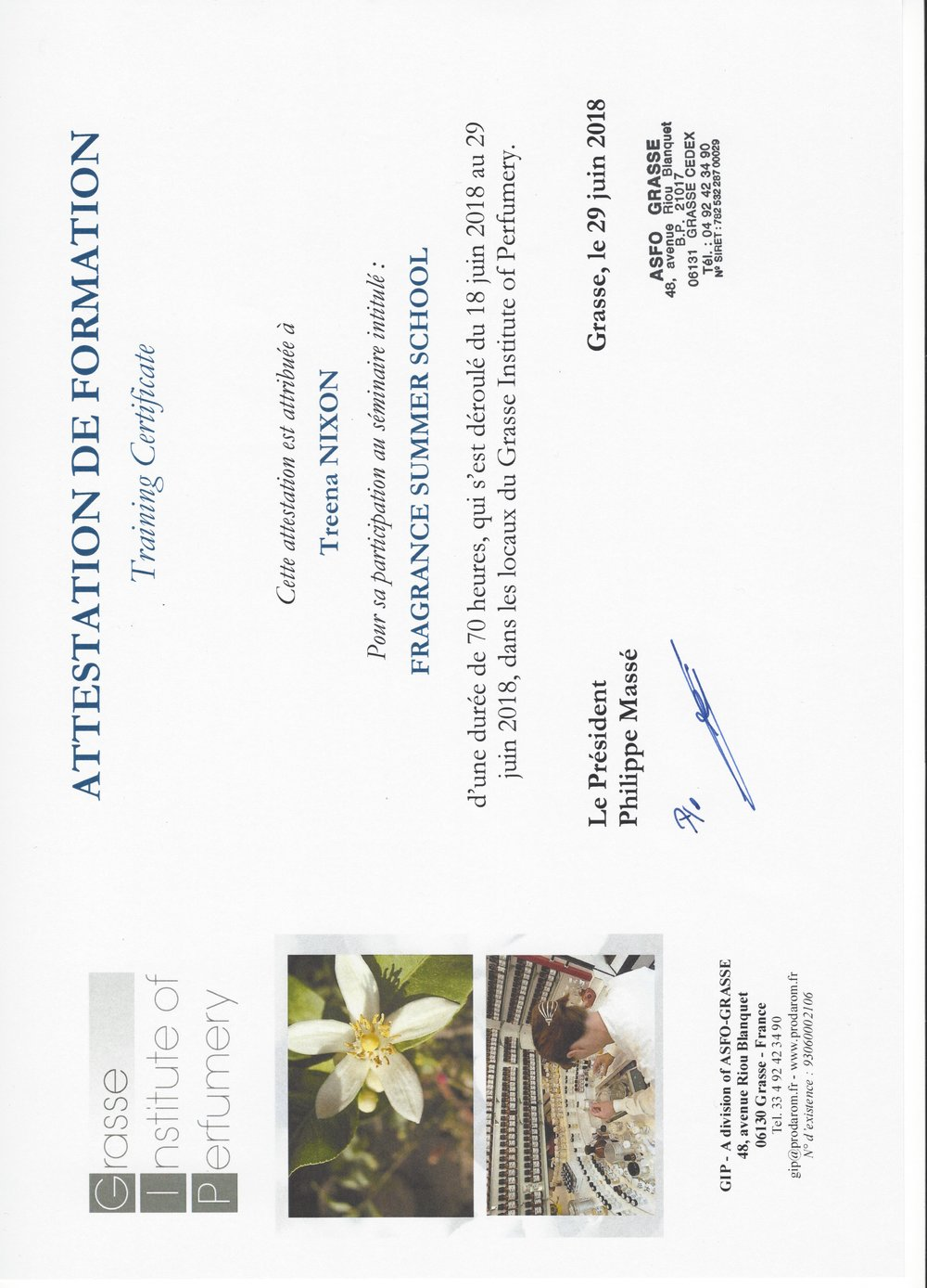 Grasse Institute of Perfumery Certification